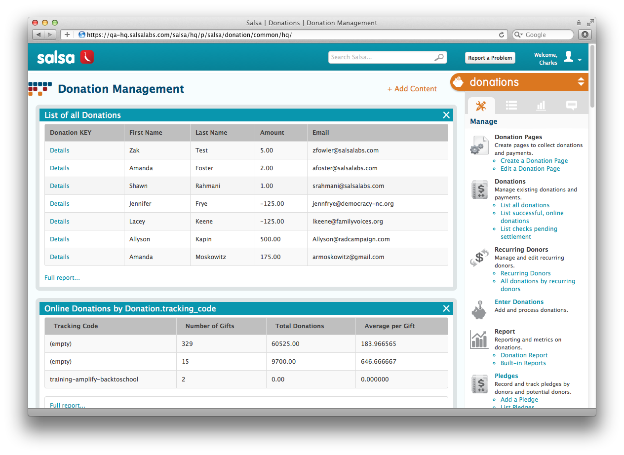 Salsa 2 Donation Management Screenshot