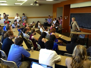 Claire speaks to students at her alma mater, Mizzou, about her support for federally-backed student loans.