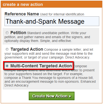 Image: Creating a Multi-Content Targeted Action