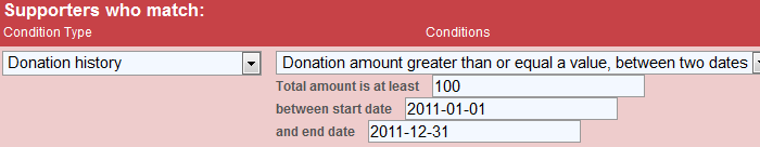 Image: Donation date range query