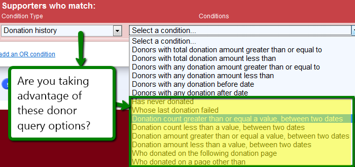 Image: Donation Query options