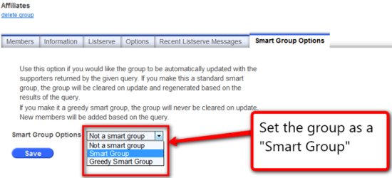 Screenshot: Setting a Group as a Smart Group