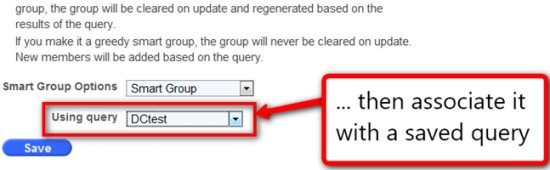 Screenshot: Associating a Smart Group with a saved Query
