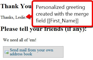 Image: Personalized Thank-You Page text