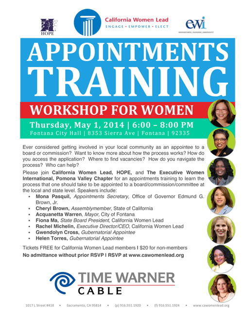 Appointments Training in Fontana on May 1